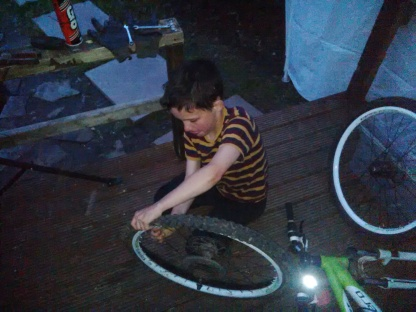 J. learns how to mend his inner tube